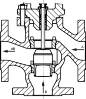 Sectional drawing: three way valve by SAMSON